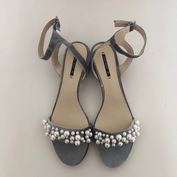 chic velvet and pearl sandals